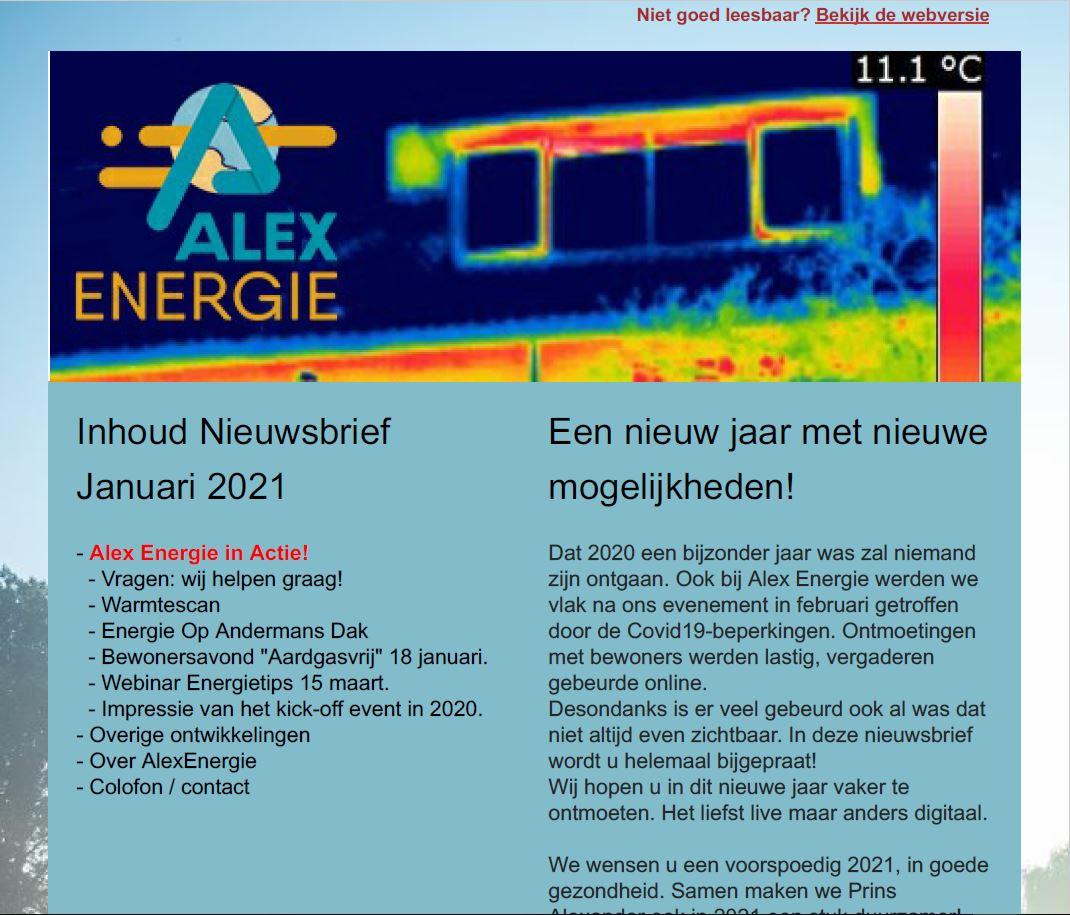 Alex Energie, Nieuwsbrief januari 2021, nieuws, duurzame energie, Rotterdam Prins Alexander